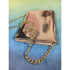 Shiny Rose Gold Reflective Crossbody Wallet Purse